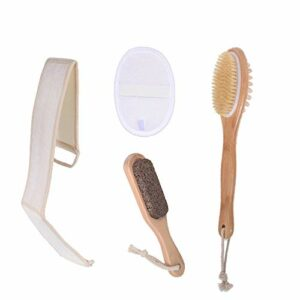 Brosse pour le corps,brosse pour le bain arrière, brosse pour pédicure, poils de sanglier naturels, massage exfoliant purifiant pour la cellulite, l'acné du dos, en luffa.Meilo