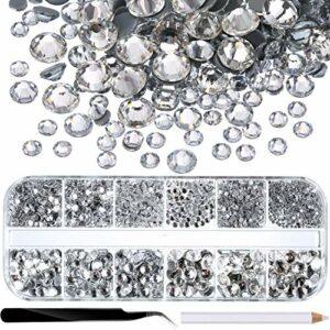 BUYGOO 2016 Pièces de Diamants en Cristal à Dos Plat 1,5 mm – 6,6 mm 6 Tailles Pierres de Cristal Rondes Transparentes Diamants d'imitation de décoration Strass pour Les Ongles/Couture