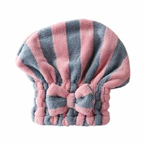 Cabilock Serviette de Séchage des Cheveux Sèche-Cheveux Turban Wrap Rayure Absorbant Séchage Rapide Bonnet de Séchage des Cheveux pour Bain Spa