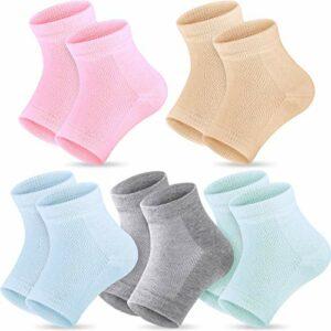 Chaussettes à Talons en Gel Hydratant 5 Paires Chaussettes à Bout Ouvert Doux Ventilatoire pour Sec Dur Fissuré Hydrater la Peau (Rose, Turquoise, Gris, Peau et Menthe)