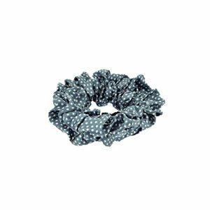 Chouchou en Satin – Gris à Pois Blanc – 10 cm – Elastique Accessoire Cheveux Coiffure