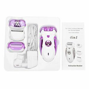 Épilateur – épilateur rechargeable électrique des femmes 4-en-1, rasoir d'épilation, soin des pieds manucure (Couleur : Purple)