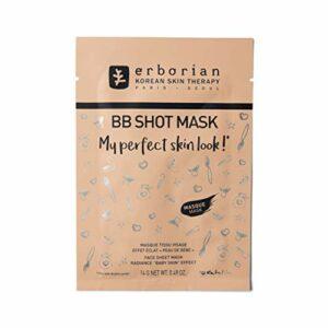 Erborian – BB Shot Mask – Masque en Tissu Visage, Effet Éclat «Peau de Bébé» – Soin du Visage Coréen – 14g