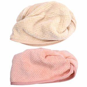 EXCEART 2 Pcs Serviette pour Cheveux Corail Polaire Wrap Turban Polaire Bain à Séchage Rapide Séchage Rapide Absorbant Cheveux Séchage Capuchon Fournitures de Salle de Bain pour Filles