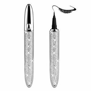Eyeliner magique multifonctionnel diamant, eye-liner 2 en 1 qui peut coller des cils, cils imperméables sans colle Eyeliner auto-adhésif Diamond Magic – pour le maquillage des yeux (B, Noir)