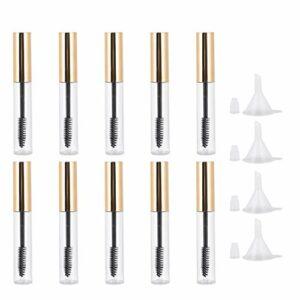 FRCOLOR 10 Pcs Vide Mascara Tube Baguette Cils Crème Conteneur Bouteille avec 4 Pcs Entonnoirs pour Diy Cosmétiques Huile de Ricin
