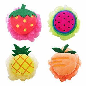 Frcolor 4pcs boule de bain en forme de boule de douche pour enfants adultes (ananas + pastèque + mangue + fraise)