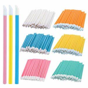 Gobesty Brosse à lèvres jetable, 600 pièces pinceaux à lèvres maquillage baguettes de brillant à lèvres applicateur outil maquillage beauté outils kits (6 couleurs).