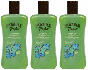 Hawaiian Tropic After Sun Gel Aloe – Gel après-soleil à l'aloe vera pour la peau par le soleil, lotion rafraîchissante hypoallergénique et dermatologiquement éprouvée, pack de 3 unités x 200 ml