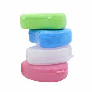 HEALLILY 4 Pièces En Forme de Coeur Cas Prothèse Prothèses Boîte De Rangement Orthodontique Dentaire En Forme de Coeur Boîte de Retenue Rose Bleu Vert Transparent (Style Mixte)