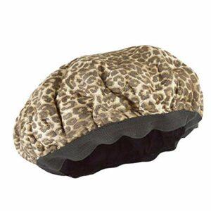 Heat Cap Deep Conditioning Sèche Cheveux Chapeau En Plastique De Bain Cap Flaxseed Chaleur Soins Des Cheveux Micro-ondable Cap Pour Texturés Soins Des Cheveux Séchage Curling Styling (leopard)