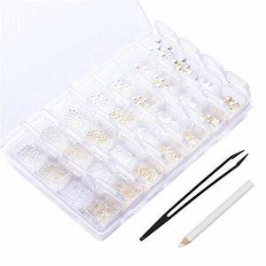 HQdeal 28 Grilles Perles pour Nail Art, Nail Art Strass, 6 Tailles Perles à Dos Plat Rond, Décorations d'Ongles 3D avec Pince à Epiler et Stylo à Pointiller pour Ongles Vêtements Visage Artisanat