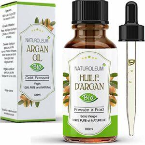 Huile d'Argan BIO du MAROC – 100% Pure et Naturelle, Pressée à Froid – Extra-Vierge – Anti-âge, Soin Hydratant pour Cheveux, Corp et Visage 100ml