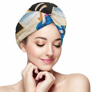 Jack Russell Serviette de bain en microfibre avec boutons pour sécher les cheveux, sécher les cheveux, sécher les cheveux, sécher les cheveux, bonnet de bain enveloppé