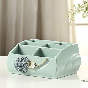 Jia He Boîte de rangement cosmétique Boîte de rangement pour cosmétiques – corps de boîte en résine + cloison en bois + fond en PVC, multi-grille créative européenne de grande capacité, boîte de range