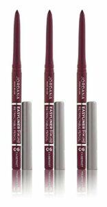 Jordana Crayon à lèvres Easyliner – Des couleurs riches et vibrantes de longue durée – Coloris Cabernet (Lot de 3)