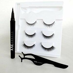 Kit Stylo Eyeliner Magique et Adhésif, combine les deux : eyeliner et colle à cils en un seul produit – eyeliner collant, stylo eyeliner adhésif (Glamour)