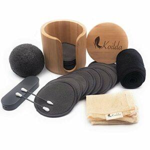KOILDA set de démaquillage,16 cotons démaquillant reutilisables au charbon de bambou,1 pot bambou,1 filet de lavage,1 éponge konjac,1 bandeau cheveux,2 cotons tiges réutilisable et lavable*.