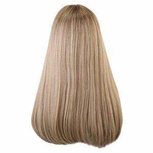 Koojawind Perruques De Cosplay Pour Les Femmes Et Les Filles, Perruque De Cheveux Pleine De Mode Avec Bangs Longue Ligne Droite RéSistant à La Chaleur Perruque De Cheveux Pastel Brown