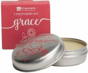 LA SAPONARIA – Parfum Solide Grace – 100% Naturel – Riche en Huiles Essentielles – pour la Peau et les Cheveux – Végétalien – Fabriqué avec de la Cire de Riz et Amandes – 15 ml