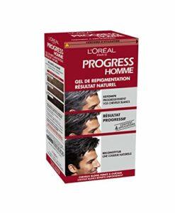 L'Oréal Paris Progress Homme, Gel de Repigmentation Naturelle, Coloration des Cheveux Blancs, 4 Applications & 1 Shampooing Nutritif Inclus