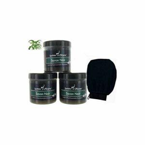 Lot 3 Savons Noir Africain Eucalyptus BIO Huile d'Olive 100% Pure Et Naturel Exfoliant Gommage Pour Corps Visage Et Peau 250g + 1 Gant Kessa Noir