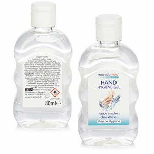 Marvita med 2X Gel d'hygiène des Mains en Tube – Gel d'hygiène des Mains pour Le Nettoyage Mobile des Mains sans Eau pour Les déplacements – 80 ML par Tube