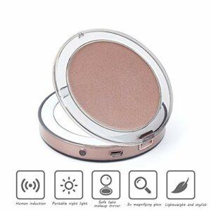 Miroir De Maquillage Led, Miroir Lumineux LED Rond Pliable Avec Grossissement X3 Pour Maquillage Beauté, En Voyage Ou À Poser,D'or