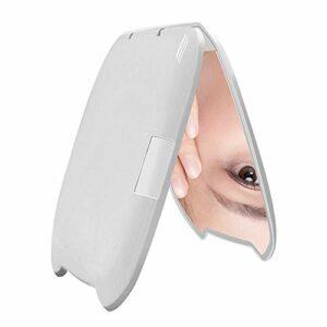 Miroir Maquillage Lumineux, 2X Loupe + Miroir Plan, 8 Perles De Lampe, Alimenté Par 2 CR2025 Piles Bouton,Blanc