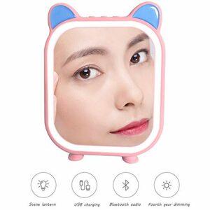 Miroir Maquillage Lumineux, Miroir De Maquillage De Musique, Connexion Bluetooth, Miroir Cosmétique Eclairée Tactile Avec 4 Modes