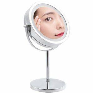 Miroir Maquillage Lumineux, Miroir De Maquillage Led, Miroir Cosmétique Eclairée Tactile, Unilatéral Miroir Grossissant, Alimenté Par 4 Piles AA (Non Incluses)
