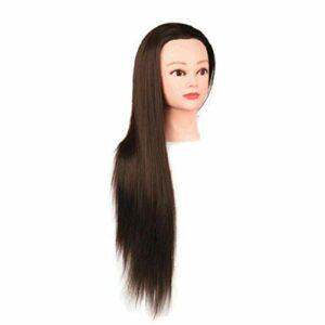 Modèle de tête Styling Formation fibres synthétiques coiffure formation Cosmétologie Doll pour Practing Styling cheveux avec pince Brown Produits ménagers