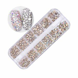 MUUZONING 3D Strass Cristaux à Ongles Colorées de perles en diamant,Longue boîte de pierres précieuses mixtes Décorations d'accessoires, Pour Crafts Nail/Faciale Art Vêtements Chaussures Sacs DIY #1