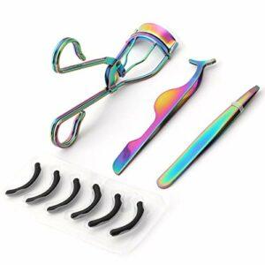 MWOOT Kit de Recourbe-cils avec Recourbe Cils Pinces à éplier Pince de Cils, Accessoires et outils de Maquillage avec 6 Tampons de Rechange en Silicone