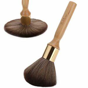 Nettoyage du visage brosse à cheveux coiffeur cou plumeau brosse de coiffure brosse de balayage de cheveux pour la coiffure pour la coupe de cheveux pour les débutants pour(Wood color)