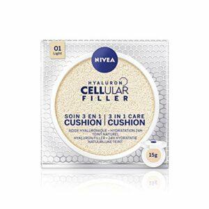 NIVEA Hyaluron Cellular Filler Cushion 3en1 Teinte Claire (1x15ml), soin visage femme anti-âge, fond de teint pour tous type de peau, maquillage femme hydratant