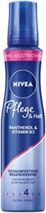 NIVEA Soin et maintien mousse mousse extra forte (150 ml) – Mousse nourrissante avec panthénol et vitamine B3 – Mousse volumisante pour un coiffage flexible avec tenue 24h
