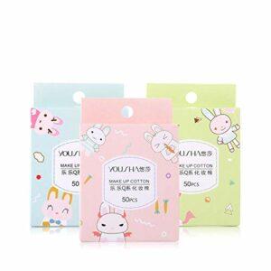 Non-tissé Maquillage en Coton léger Doux for la Peau Disque de Coton Nettoyage et Déchargement Multi-usages Coton Feuille 50 Pièces (3 boîtes) (Color : White, Size : M)