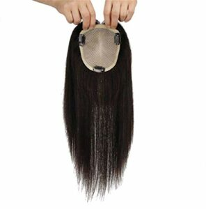Partie Gratuite Topper de Cheveux pour Femmes Femmes 's 4' x4 'Clip de Base en Soie dans Les postiches de Cheveux Humains Accessoires de Maquillage