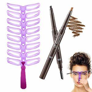 Pochoirs à Sourcils, 8 Styles Modèle de Sourcil et 2pcs Crayon Sourcils Imperméable, Pochoirs À Sourcils Kit avec Poignée, Outils de Bricolage Réutilisable pour Débutant de Maquillage