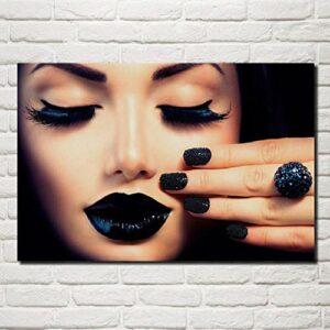 QZROOM Cils Manucure Lèvres Fille Fasion Maquillage Salon Maison Moderne Mur Art Décor Affiches – 50x70cm – sans Cadre