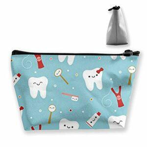 Sac de rangement léger et multi-usage avec fermeture éclair trapézoïdale – Petit sac de maquillage – Pour téléphone portable – Pochette à crayons – En tissu dentaire – Happy Teeth Friends – Bleu