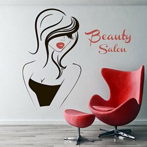 Sticker Mural Salon De Beauté Vinyle Autocollant Décoration Intérieure Autocollant Coiffeur Coiffure Cheveux Barbiers Coiffure Fille Visage Yeux Lèvres 63X57Cm