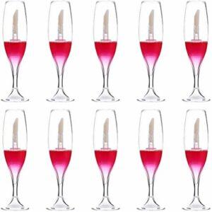 teyiwei 10 Pièces 8 Ml Mini Verre à Vin Rouge en Forme de Tube de Brillant à Lèvres Vide avec Baguette Petites Bouteilles Rechargeables Tube de Glaçage à Lèvres pour Femmes