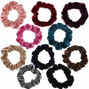 TYWZJ Lot de 10 chouchous en Soie Satin Cheveux Cravates chouchous chouchous Bande de Cheveux Porte-Queue de Cheval pour Femmes Filles