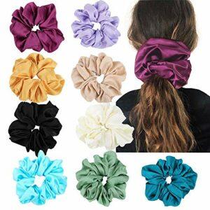 TYWZJ Satin Hair Chouchous – Lot de 9 Bandes de Cheveux Chouchous en Soie Grande Taille Cravates Cheveux Accessoires Cheveux pour Femmes Filles