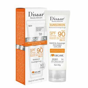 WT-DDJJK Crème Solaire, 40g SPF90 Crème Solaire blanchissante pour Le Corps du Visage Rafraîchissant Hydratant Imperméable