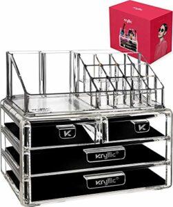 XUYI Clear 2 tiroirs de Fond de Caisse cosmétique beauté Maquillage Bijoux Brosse éponge Support de comptoir est Un Excellent conteneur de boîte de Salle de Bain pour pinceaux Rouge à lèvres et Plus