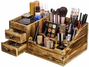 XUYI Organisateur de Bureau en Bois Organisateur de Maquillage Porte-Brosse boîte de Rangement Organisateur cosmétique Rustique pour Bureau à Domicile