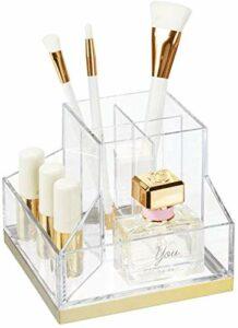 XUYI Porte-Pinceau de Maquillage avec 6 Sections – Organisateur à Utiliser comme Rangement de Maquillage, Support de Vernis à Ongles et Plus – Clair